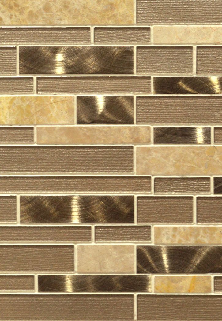 Champagne Toast Glass Blend 4MM Interlocking Mosaic Tile