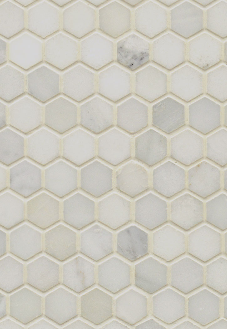 "Arabescato Carrara 1"" Hexagon Mosaic Tile"