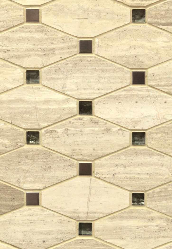 Bayview Glass Blend 10MM Elongated Octagon Mosaic Tile