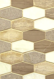 Bellagio Marble Blend 10MM Elongated Hexagon Mosaic Tile