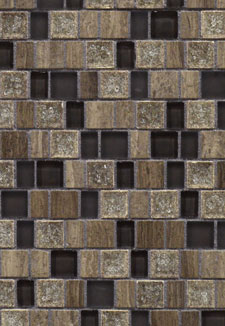 Grey Marble and Crackle Glass Mosaic Tile