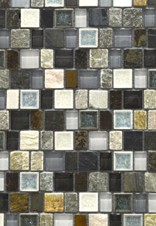Slate Blue and Crackle Glass Mosaic Tile