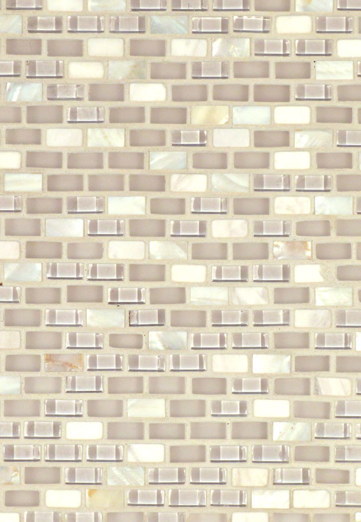 "Glass and Shells White 3/8"" Glass Mini-Brick Mosaic Tile"