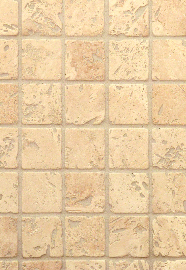 "Travertine Tumbled Ivory 2"" x 2"" Tile"