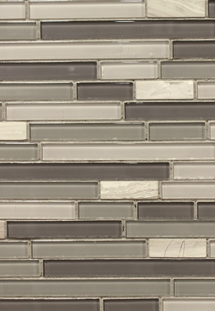 "5/8"" Linear Grey Glass with Woodstone Marble Mosaic 12"" x 12"" sheet - 4mm thick"