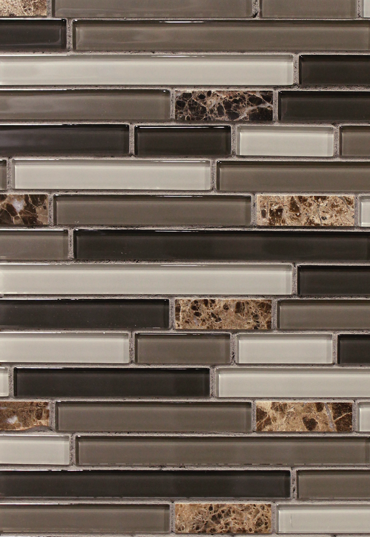 "5/8"" Linear Brown Glass with Emperador Marble Mosaic 12"" x 12"" sheet - 4mm thick"