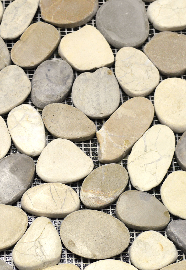 "Harmony Blend Natural Stone Pebble Mosaic Floor or Wall Tile 12"" x 12"" Sheet -Flat"