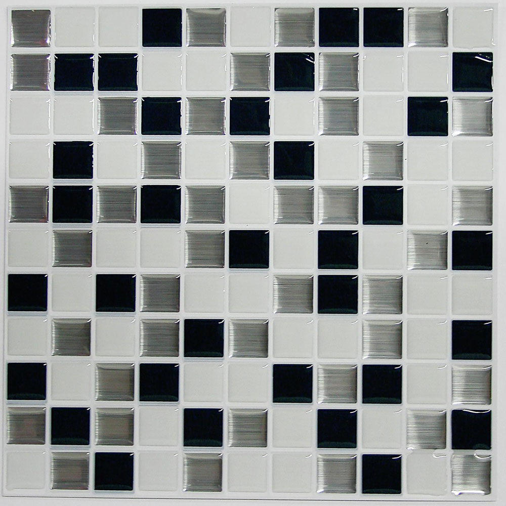 "Self Stick Wall Tile- Black and White- 10.5"" x 10.5""- 4 pack"