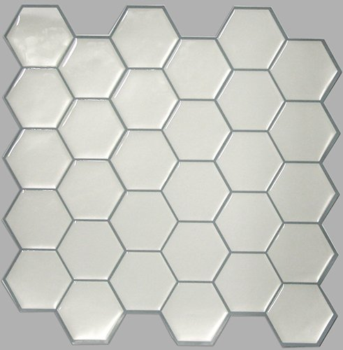 "Self Stick Wall Tile- White Hex- 10.5"" x 10.5"" - 4 pack"
