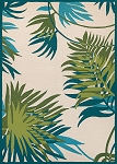 Couristan Covington 2992-0505 Jungle Leaves - Ivory-Forest Green Indoor-Outdoor Area Rug