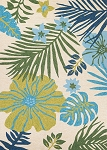 Couristan Covington 5356-3561 Summer Laelia - Ivory-Fern Indoor-Outdoor Area Rug