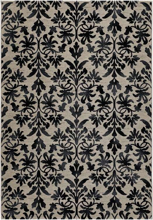 Everest 6316/6333 Retro Damask Grey-Black Area Rug by Couristan