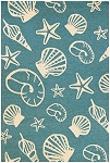 Couristan Outdoor Escape 7334-0220 Cardita Shells Turquoise/Ivory Indoor-Outdoor Area Rug