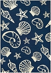 Couristan Outdoor Escape 7334-0313 Cardita Shells Navy/Ivory Indoor-Outdoor Area Rug