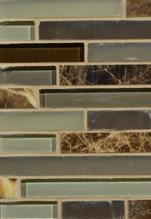 "Emperador Marble / Brown Glass Wall Tile 12"" x 12"""