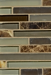 Emperador Marble / Brown Glass Wall Tile 12