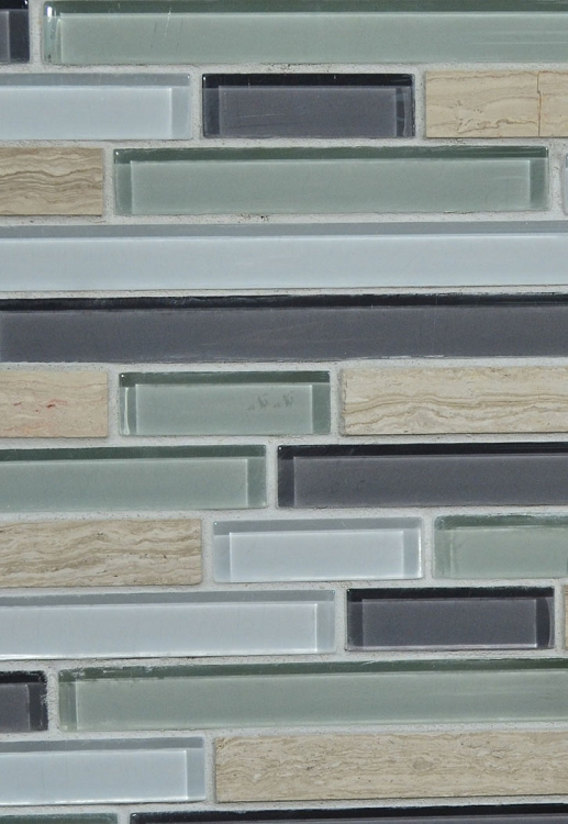 "Grey Wood Stone / Cool Glass Blend Wall Tile 12"" x 12"""