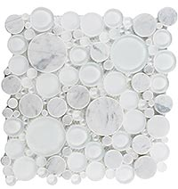 BFS101 Bubble White Dove Mosaic Tile