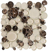 BFS301 Bubble Warm Brownie Mosaic Tile