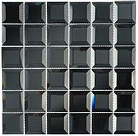 CKR112 Checkers Hematite Squares Mosaic Tile