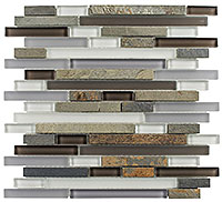 GS06 Glass & Slate Sag Harbor Gray Mosaic Tile