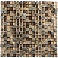 GS15 Glass & Slate Titanium Filed Mosaic Tile