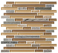 GS20 Glass & Slate Contemporary Mocha Mosaic Tile