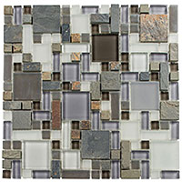 GS23 Glass & Slate Sag Harbor Gray Mosaic Tile