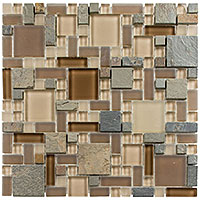 GS25 Glass & Slate Winter Scape Mosaic Tile