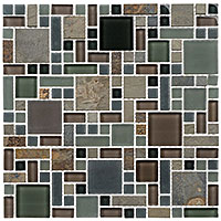 GS27 Glass & Slate Forest Floor Mosaic Tile