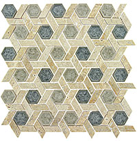 TS954 Tranquil Hexagon Mansion Drive Mosaic Tile