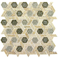 TS955 Tranquil Hexagon Olympus Shade Mosaic Tile