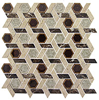 TS956 Tranquil HexagonTemple Inspiration Mosaic Tile