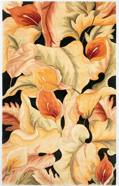 Catalina 759 Black Calla Lillies Area Rug by KAS