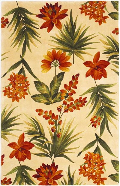 Catalina 780 Ivory Tropical Flora Area Rug by KAS
