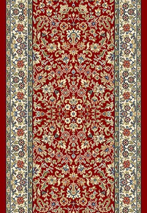 "Ancient Garden 57078-1414 Red/Ivory 2'2"" Wide Hall and Stair Runner"