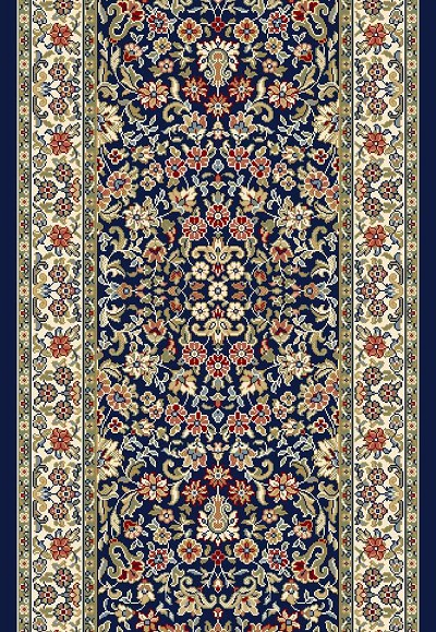 "Ancient Garden 57078-3434 Navy/Ivory 2'7"" Wide Hall and Stair Runner"