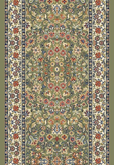 "Ancient Garden 57078-4444 Green/Ivory 2'2"" Wide Hall and Stair Runner"