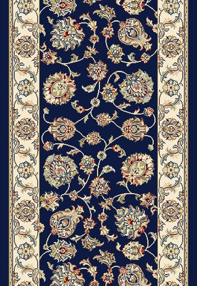 "Ancient Garden 57365-3464 Navy/Ivory 2'2"" Wide Hall and Stair Runner"
