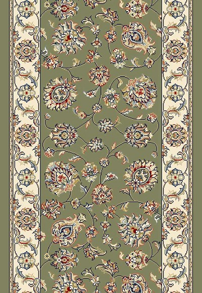 "Ancient Garden 57365-4464 Green/Ivory 2'2"" Wide Hall and Stair Runner"