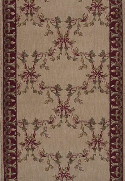 "Ashton House A01R Ribbon Trellis Beige 2'3"" Wide Hall and Stair Runner"