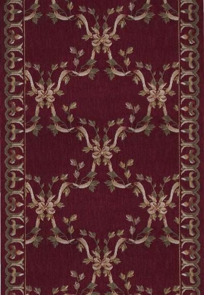 Nourison Ashton House A01r Ribbon Trellis Burgundy 3 Foot Wide Hall