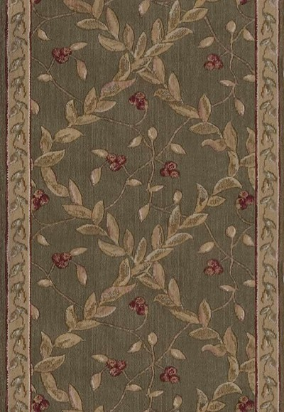 "Ashton House A02R Regal Vine Olive 2'3"" Wide Hall and Stair Runner"