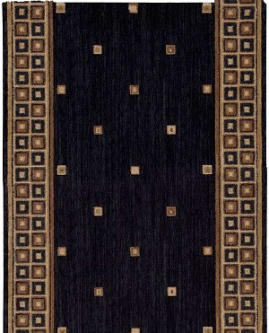 "Cosmopolitan C31R R19 Cosmo Square Midnight 2'6"" Wide Hall and Stair Runner"