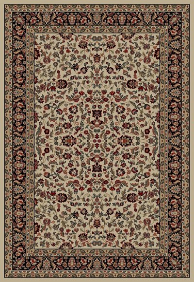 Jewel  4063 Kashan Ivory/Black Area Rug by Concord Global Trading
