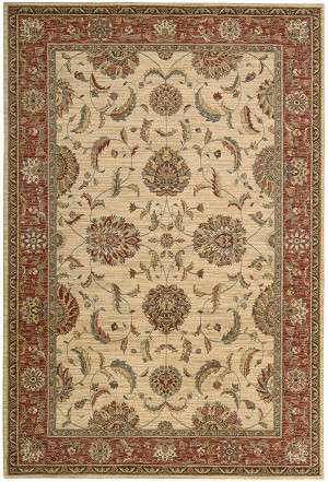 Living Treasures  LI04 Ivory/Red Area Rug by Nourison
