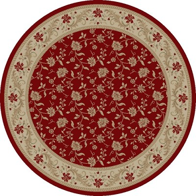 "Concord Global Trading Imperial 1130 Red 5'3"" Round Area Rug"