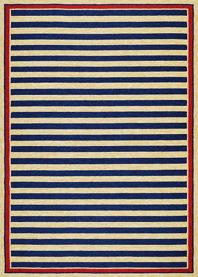 Covington 3126 0630 Nautical Stripes Navy Red Area Rug By Couristan