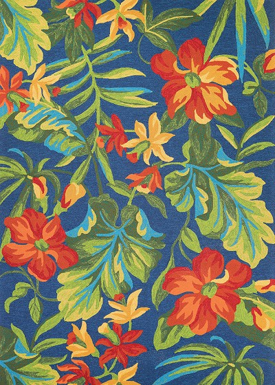 Covington 4886 4285 Tropical Orchid Azure Forest Green Red Area Rug