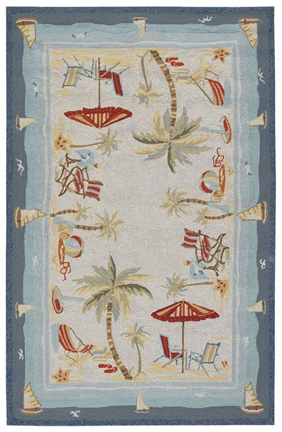 Couristan Outdoor Escape 2123-8011 Pacific Heights Ocean Indoor-Outdoor Area Rug